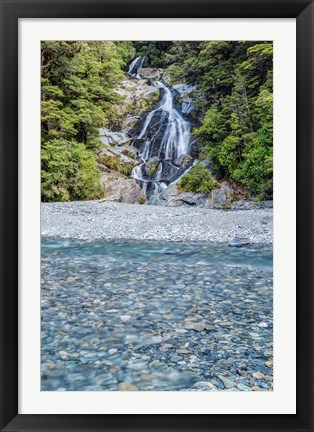 Framed New Zealand, South Island, Mt Aspiring National Park, Fan Tail Falls Print