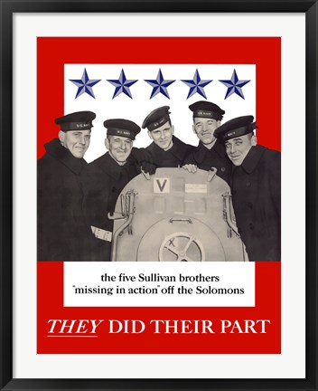 Framed Sullivan Brothers - They Did Their Part Print