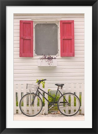 Framed Beach House and Bicycle, Loyalist Cays, Bahamas, Caribbean Print