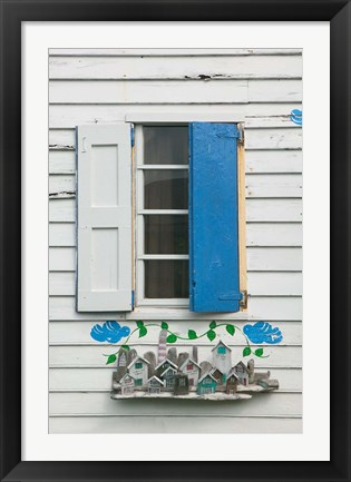 Framed Beach House Blue shutters, Loyalist Cays, Bahamas, Caribbean Print