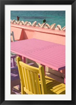 Framed Colorful Cafe Chairs at Compass Point Resort, Gambier, Bahamas, Caribbean Print