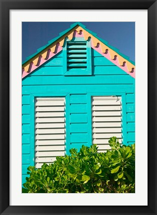 Framed Colorful Cottage at Compass Point Resort, Gambier, Bahamas, Caribbean Print