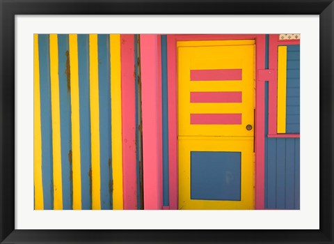 Framed Colorful Doorway, New Providence Island, Bahamas, Caribbean Print
