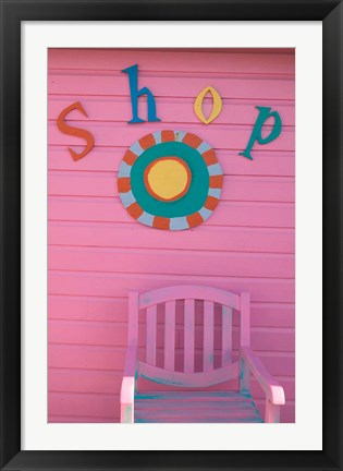 Framed Colorful Sign at Compass Point Resort, Gambier, Bahamas, Caribbean Print