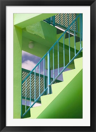 Framed Hotel Staircase (vertical), Rockley Beach, Barbados Print