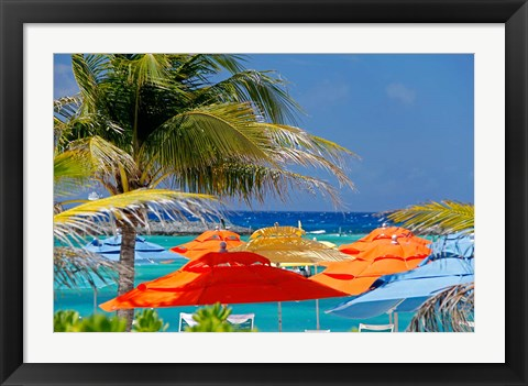 Framed Umbrellas and Shade at Castaway Cay, Bahamas, Caribbean Print
