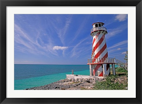 Framed Lighthouse at High Rock, Grand Bahama Island, Caribbean Print