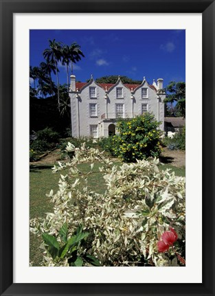 Framed St Nicholas Abbey, St Peter Parish, Barbados, Caribbean Print