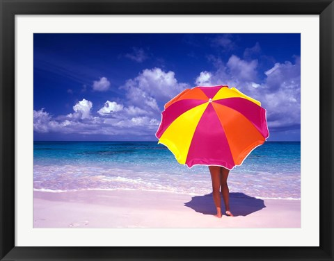 Framed Female Holding a Colorful Beach Umbrella on Harbour Island, Bahamas Print