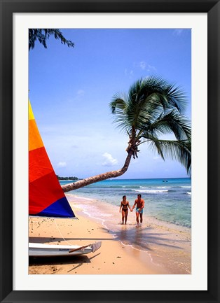 Framed Couple on Beach with Sailboat and Palm Tree, Barbados Print