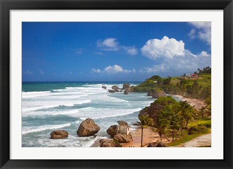 Framed Rocky coastline, Barbados at Bathsheba Print