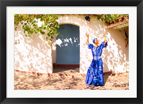 Framed African Dancer in Old Colonial Village, Trinidad, Cuba Print