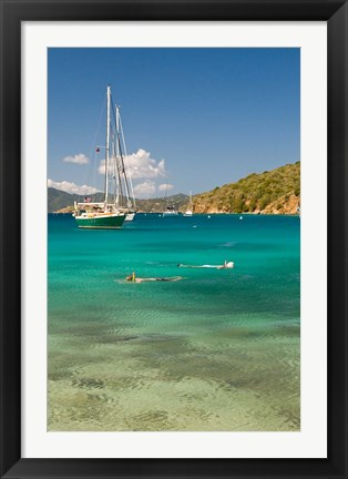 Framed Snorkelers in idyllic cove, Norman Island, BVI Print