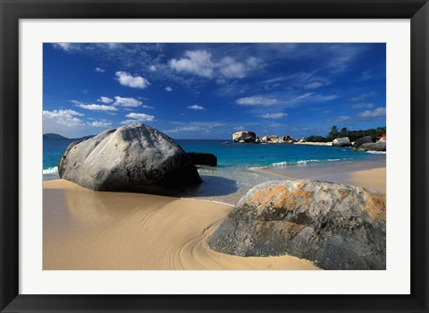 Framed Beach on Spring Bay; British Virgin Islands Print