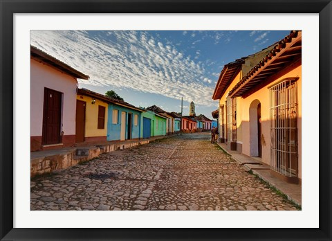 Framed Early morning view of streets in Trinidad, Cuba Print