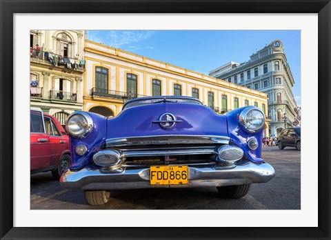 Framed 1950's era car parked on street in Havana Cuba Print