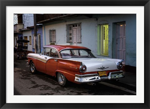 Framed 1950's era Ford Fairlane and colorful buildings, Trinidad, Cuba Print