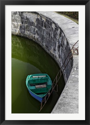 Framed Boat at the fortress of La Fuerza in Havana, Cuba Print