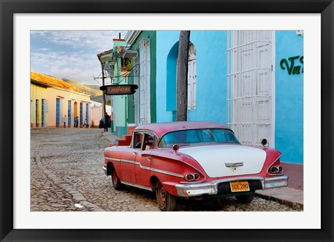 Framed Colorful buildings and 1958 Chevrolet Biscayne, Trinidad, Cuba Print