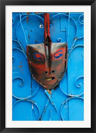 Framed Mask on Callejon de Hamels building walls, Cuba Print