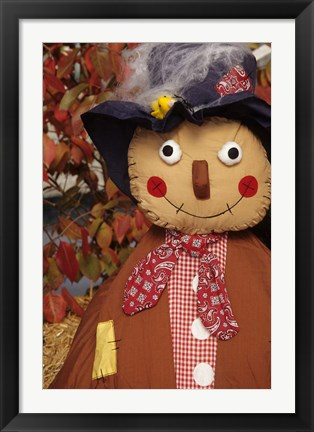 Framed Stuffed Scarecrow on Display at Halloween, Washington Print