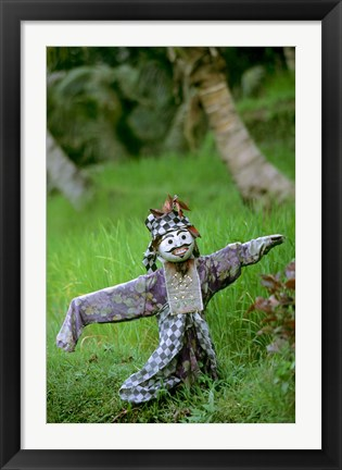 Framed Village Scarecrow, Rice Fields, near Tegallalan, Bali, Indonesia Print
