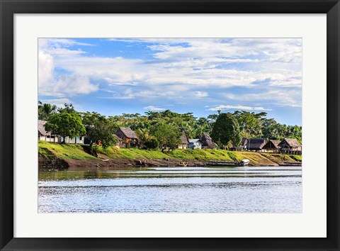 Framed Houses along a riverbank in the Amazon basin, Peru Print