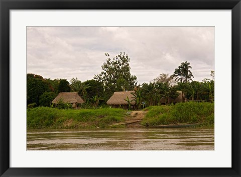 Framed Indian Village on Rio Madre de Dios, Amazon River Basin, Peru Print