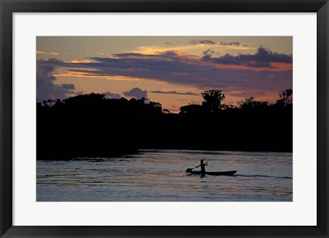Framed Boaters on Amazon River at Sunset, Amazon River Basin, Peru Print