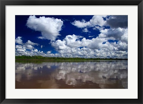 Framed South America, Peru, Amazon Cloud reflections on Amazon river Print