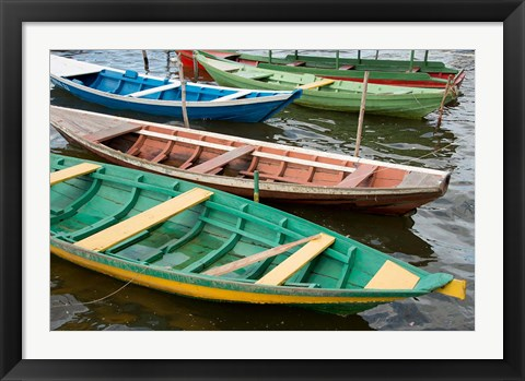 Framed Colorful local wooden fishing boats, Alter Do Chao, Amazon, Brazil Print