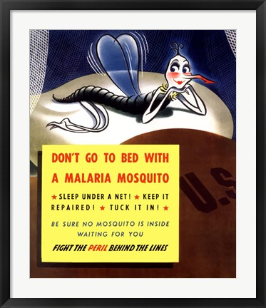 Framed Don't Go To Bed With A Malaria Mosquito Print