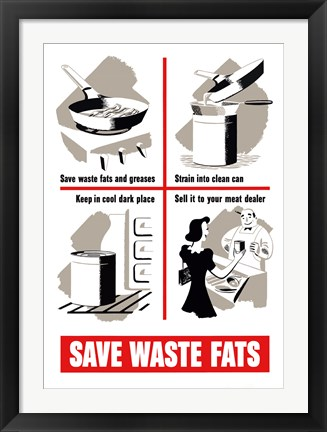 Framed Save Waste Fats Print