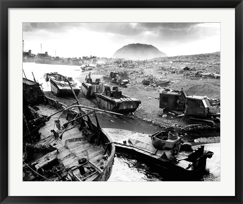 Framed Wreckage During The Battle of Iwo Jima Print