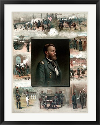 Framed Ulysses S Grant and His Achievements Print