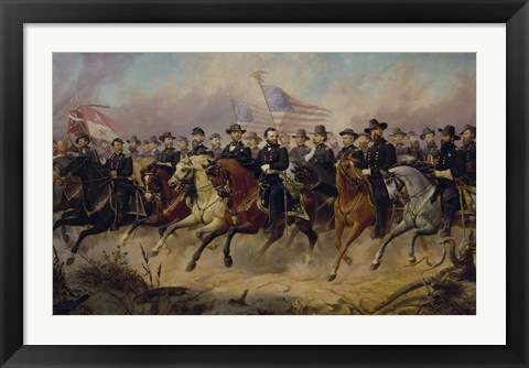 Framed Ulysses S Grant and His Generals on Horeback Print