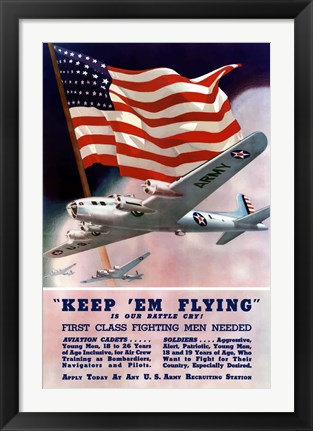Framed Keep 'Em Flying Is Our Battle Cry Print