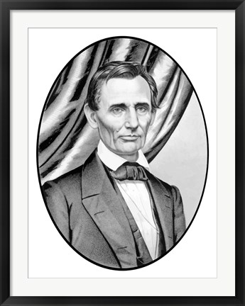 Framed Digitally Restored Vector Portrait of Abe Lincoln Print