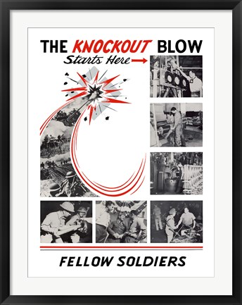 Framed Knockout Blow Starts Here Print