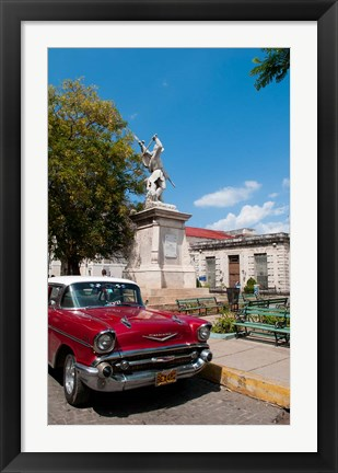 Framed 1957 Chevy car parked downtown, Mantanzas, Cuba Print