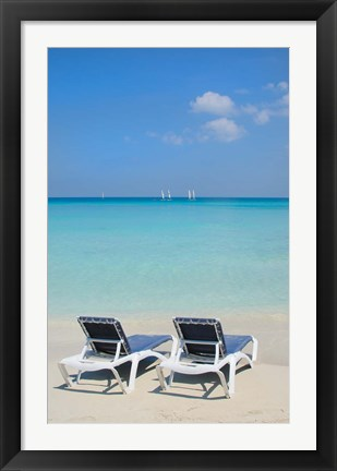 Framed Sand and beach chairs await tourists, Varadero, Cuba Print