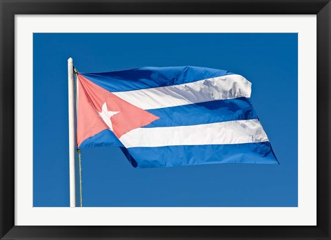 Framed National Cuban Flag, Cuba Print