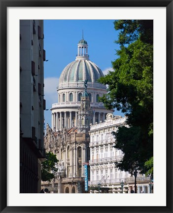 Framed Capitol building, Havana, UNESCO World Heritage site, Cuba Print