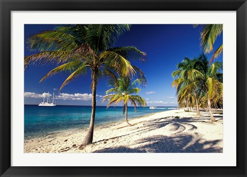 Framed Tropical Beach on Isla de la Juventud, Cuba Print