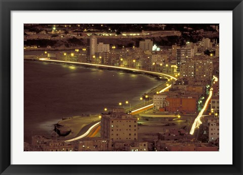 Framed Malecon at Night, Havana, Cuba Print