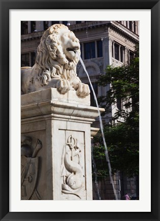 Framed Cuba, Havana, Plaza de San Francisco de Asis Lion fountain Print