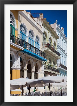 Framed Cuba, Havana, Plaza Vieja, renovated buildings Print