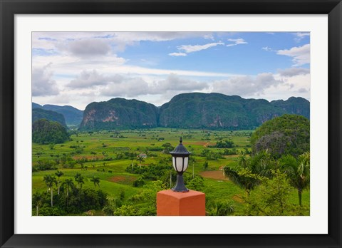Framed Limestone hill, farming land in Vinales valley, UNESCO World Heritage site, Cuba Print