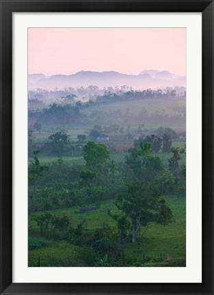 Framed Limestone hill, farmland, Vinales Valley, UNESCO World Heritage site, Cuba Print
