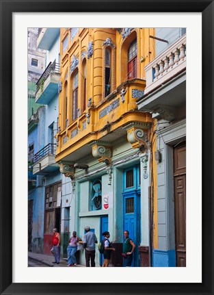 Framed Old house in the historic center, Havana, UNESCO World Heritage site, Cuba Print